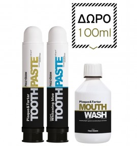 Frezyderm Plaque & Tartar Toothpaste 75ml & Instant Whitening Blue Toothpaste 75ml & Plaque & Tartar Mouthwash 100ml