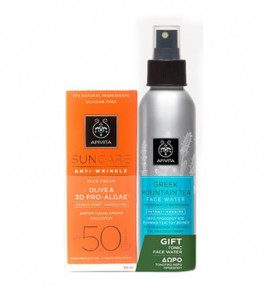 Apivita Suncare Anti-Wrinkle Face Cream SPF50 50ml & Greek Mountain Tea Face Water 100ml
