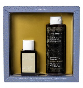 Korres Promo Black Pepper/ Cashmere/ Lemonwood Eau De Toilette 50ml & Showergel 250ml
