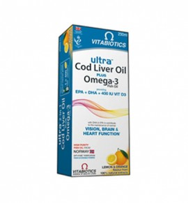 Vitabiotics Ultra 2 in 1 Cod Liver Oil Liquid, 250 ml