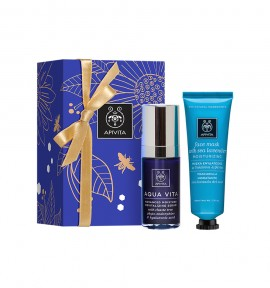 Apivita Aqua Vita Advanced Moisture Revitalizing Serum 30ml & Face Mask with Sea Lavender 50ml