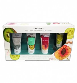 Korres Ολοκληρωμένο Set Ενυδάτωσης Natural Clay Mask 18ml, Kiwi Scrub 18ml, Nectarine Mask 18ml, Cucumber Eye Mask 8ml