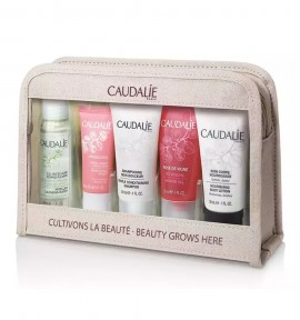 Caudalie Micellar Cleansing Water 30ml & Vinosource Moisturizing Sorbet 15ml & Gentle Conditioning Shampoo 30ml & Nourishing Body Lotion 30ml & Rose De Vigne Shower Gel 30ml