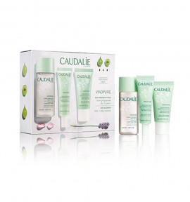 Caudalie Vinopure Clear Skin Purifying Toner 50ml & Skin Perfecting Mattifying Fluid 15ml & Blemish Control Infusion Serum 10ml