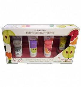 Korres Ολοκληρωμένο Set Λάμψης Natural Clay Mask 18ml, Grape Scrub 18ml, Grapefruit Mask 18ml, Cucumber Eye Mask 8ml