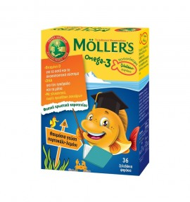 Mollers Omega-3 Kids Γεύση Πορτοκάλι-Λεμόνι 36 Ζελεδάκια